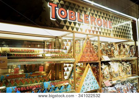 Amsterdam Schiphol Airport, The Netherlands - September 24th 2019: Toblerone Chocolate, Promotional