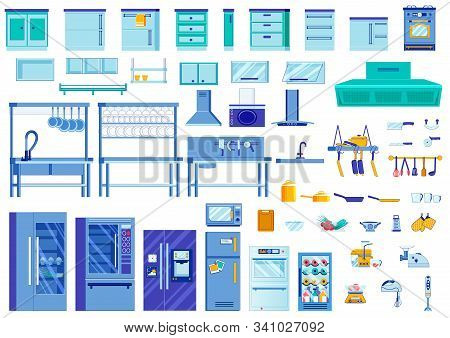 Kitchen Interior Elements, Bright Illustration. Various Furniture For Decorating Kitchen And Storing