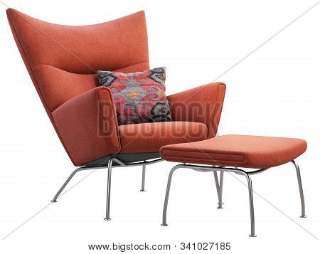 Mid-century Red Fabric Wing Chair With Pillow And Ottoman. 3D Render.