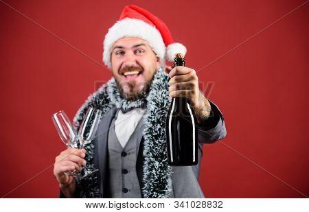 Christmas Party Invitation. Man Bearded Cheerful Hipster Santa Hold Bottle. Celebrate Christmas. Cor