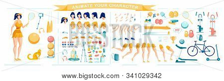 Sporty Girl Character Creation Set With Various Hairstyles, Poses And Gestures. Healthy Lifestyle An
