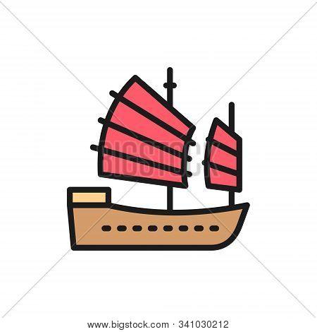 Asian Junk Boat, Hong Kong Ship Flat Color Line Icon.