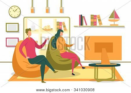 Family Couple Or Friends, Man And Woman Cartoon Characters Sitting In Living Room Interior, Communic