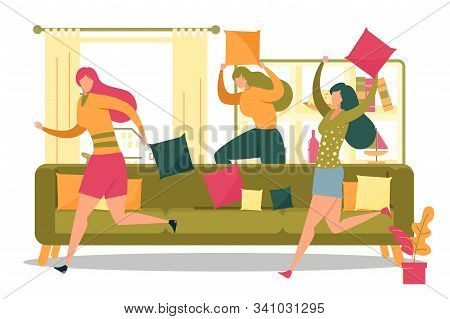 Friends Or Roommates, Girl Cartoon Characters Having Fun Running And Comically Fighting With Pillows