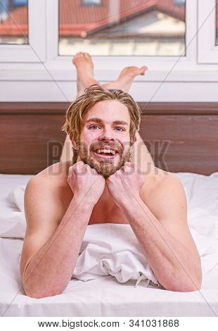 Man Handsome Guy Lay In Bed In Morning. How To Get Up In Morning Feeling Fresh. Enjoy Every Morning.