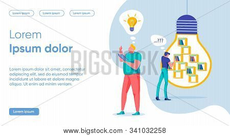 Key Idea Vocation Search Concept, Landing Page. Banner Man In Casual Clothes Examines Books In Close