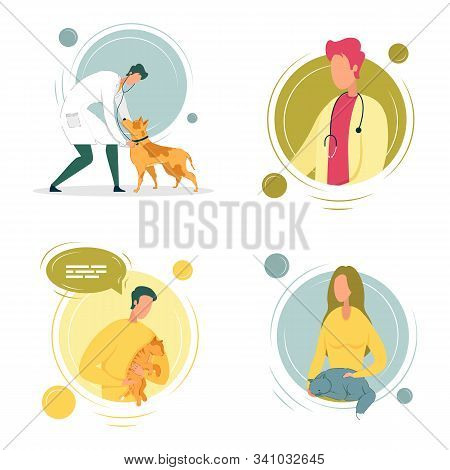 Veterinary Doctors Avatars With Cats And Dogs Cartoon Characters. Online Veterinary Professional App