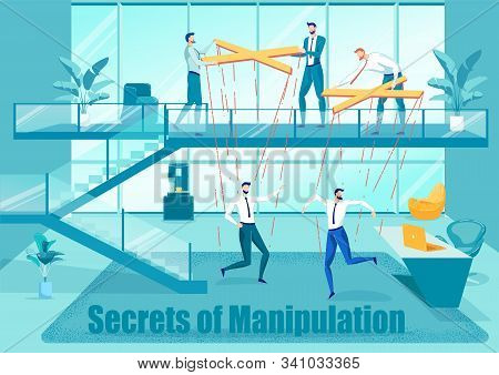 Secretes Of Manipulation In Business Flat Poster. Cartoon Office Workers Controlling Colleagues Mari