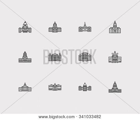 America Icons Set. Arizona State Capitol And America Icons With Delaware State Capitol, New York Sta