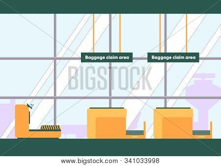 Baggage Claim Area In Airport Vector Illustration. Luggage Reclaim Room, Baggage Carousel, Conveyor