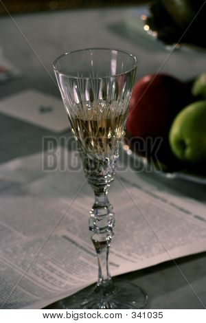 The Goblet With Champagne On The Table