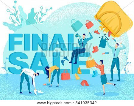 Shop Closeout Final Sale, Store Closing Discount Campaign Flat Vector Banner With People Choosing An