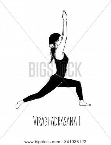 Vector Illustration Yoga Pose Virabhadrasana I. Girl Does Yoga Exercises - Vector