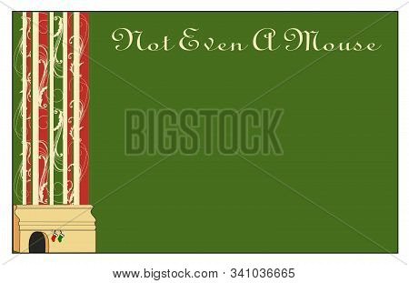 A Border Sheet Showing A Darkened Mouse Hole In A Baseboard, Two Tiny Christmas Stockings, And A Lin