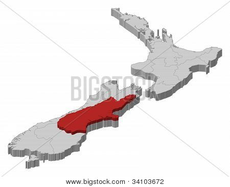 Map Of New Zealand, Canterbury Highlighted
