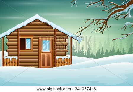 A Small Wooden House With A Snowy Background