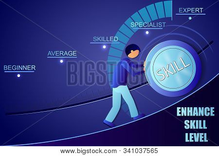 Skill Levels Knob Button. Increasing Skills Level. . Concept Of Professional Or Educational Knowledg