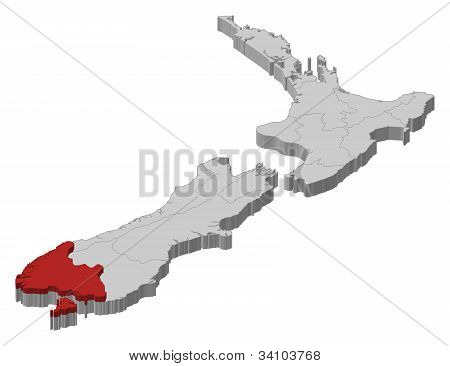 Map Of New Zealand, Southland Highlighted