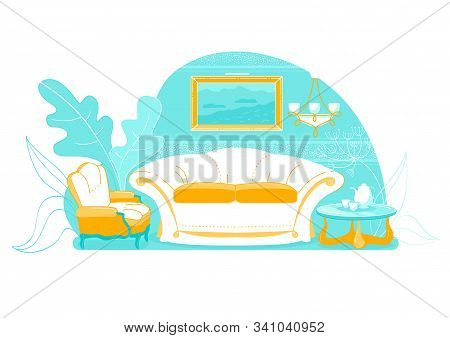 Exquisite Living Room Interior With Sofa, Slide. In Center There Luxurious Sofa With Pillows, Pictur