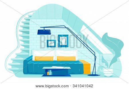 Bright Banner Creative Attic Interior With Stairs. On Small Attic Floor There Is Comfortable Sofa Wi