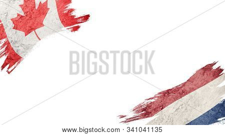 Flags Of Canada Andnederland On White Background