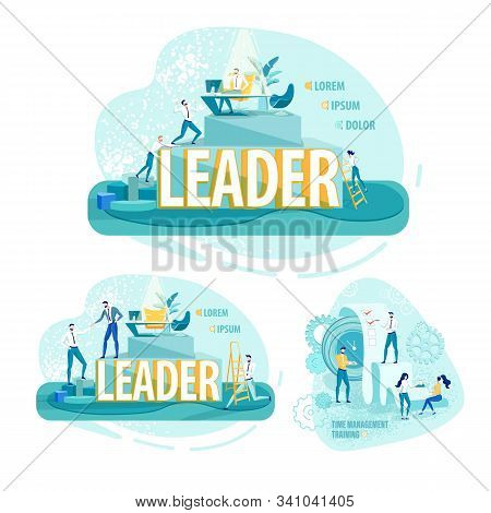 Advanced Time Management Training For Leaders. Persistent Employees Climbing Up Career Ladder. Compa