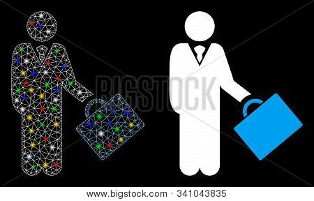 Flare Mesh Account Manager Icon With Glow Effect. Abstract Illuminated Model Of Account Manager. Shi