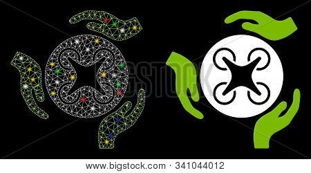 Glossy Mesh Air Copter Care Hands Icon With Glow Effect. Abstract Illuminated Model Of Air Copter Ca