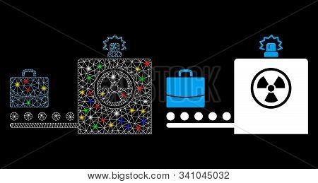 Glowing Mesh Baggage Screening Icon With Lightspot Effect. Abstract Illuminated Model Of Baggage Scr