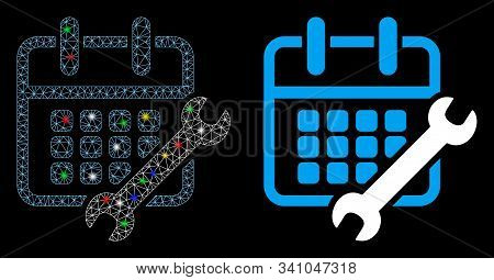 Glossy Mesh Calendar Configure Icon With Sparkle Effect. Abstract Illuminated Model Of Calendar Conf