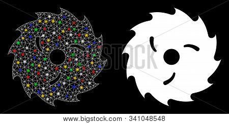 Flare Mesh Circular Wood Blade Icon With Glitter Effect. Abstract Illuminated Model Of Circular Wood