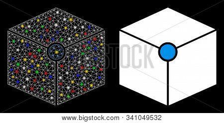 Glowing Mesh Cube Vertex Icon With Lightspot Effect. Abstract Illuminated Model Of Cube Vertex. Shin