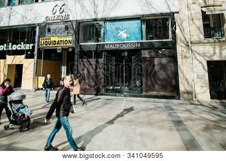 Paris, France - Mar 19, 2019: Mauboussin Fashion French Jewellery Firm Flagship Store With Protected