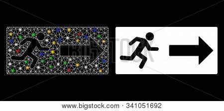 Glowing Mesh Emergency Exit Icon With Glow Effect. Abstract Illuminated Model Of Emergency Exit. Shi