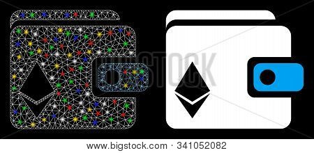 Glowing Mesh Ethereum Purse Icon With Glow Effect. Abstract Illuminated Model Of Ethereum Purse. Shi