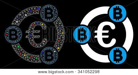 Glowing Mesh Euro Bitcoin Collaboration Icon With Glow Effect. Abstract Illuminated Model Of Euro Bi