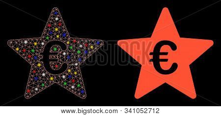 Glowing Mesh Euro Hit Parade Star Icon With Lightspot Effect. Abstract Illuminated Model Of Euro Hit