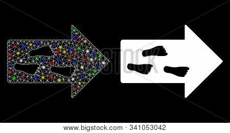 Glossy Mesh Exit Direction Icon With Glitter Effect. Abstract Illuminated Model Of Exit Direction. S