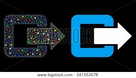 Glossy Mesh Exit Door Icon With Glow Effect. Abstract Illuminated Model Of Exit Door. Shiny Wire Car