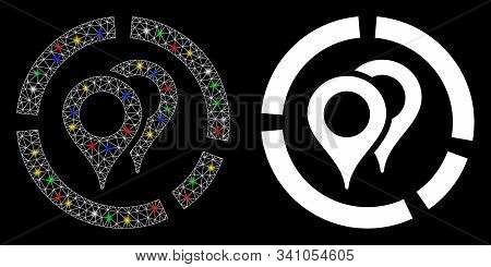 Glossy Mesh Geotargeting Diagram Icon With Sparkle Effect. Abstract Illuminated Model Of Geotargetin