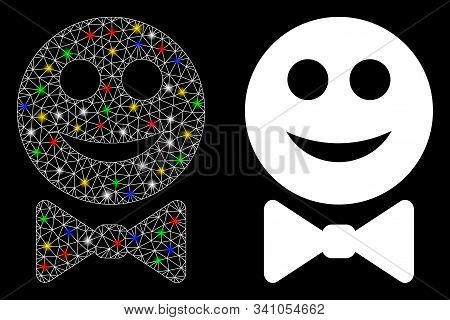 Glowing Mesh Glad Waiter Icon With Sparkle Effect. Abstract Illuminated Model Of Glad Waiter. Shiny