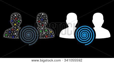 Glowing Mesh Hypnosis Sect Icon With Glitter Effect. Abstract Illuminated Model Of Hypnosis Sect. Sh