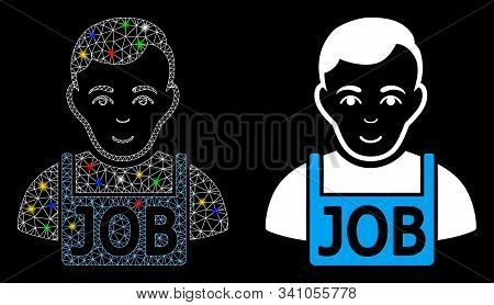 Glossy Mesh Jobless Icon With Sparkle Effect. Abstract Illuminated Model Of Jobless. Shiny Wire Fram