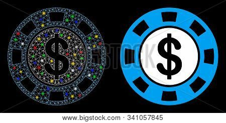 Glowing Mesh Money Token Icon With Sparkle Effect. Abstract Illuminated Model Of Money Token. Shiny