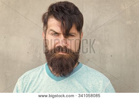 The Bushy Mustache Is Great. Bearded Man With Stylish Mustache Shape. Brutal Hipster With Textured M