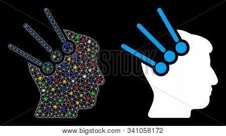 Glossy Mesh Neural Interface Connectors Icon With Glare Effect. Abstract Illuminated Model Of Neural