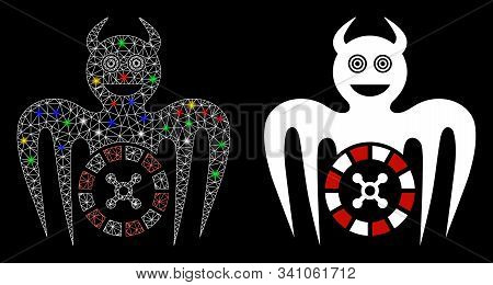 Bright Mesh Roulette Mad Spectre Devil Icon With Sparkle Effect. Abstract Illuminated Model Of Roule