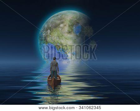 Terraformed Moon seen from Earth ocean. 3D rendering