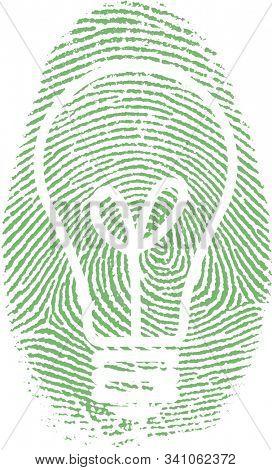 Light bulb silhouette in fingerprint. 3D rendering