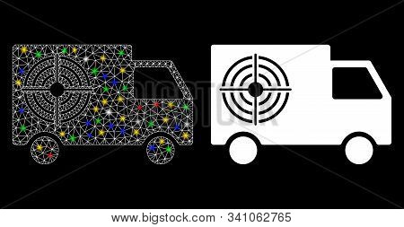 Flare Mesh Shooting Gallery Truck Icon With Glitter Effect. Abstract Illuminated Model Of Shooting G